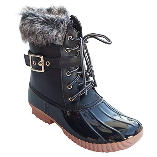 Womens Duck Rain Boots Winter Lace Up Buckled Waterproof Snow Booties ()