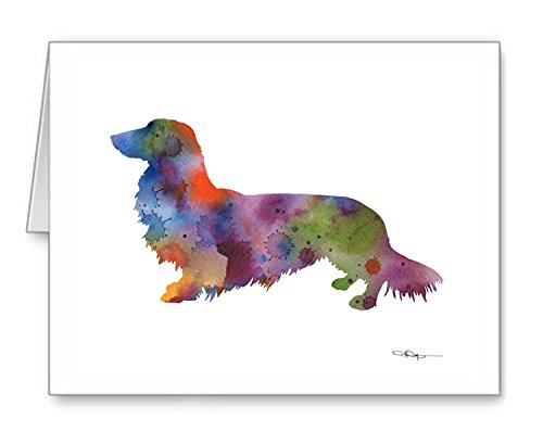 Long Haired Dachshund - Set of 10 Note Cards With Envelopes