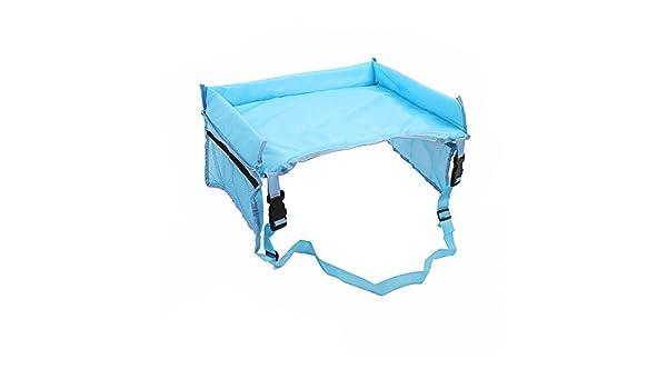 plegable e impermeable Bandeja de viaje para asiento de coche de beb/é de ZZM con cintur/ón de seguridad y bolsillos Azul celeste