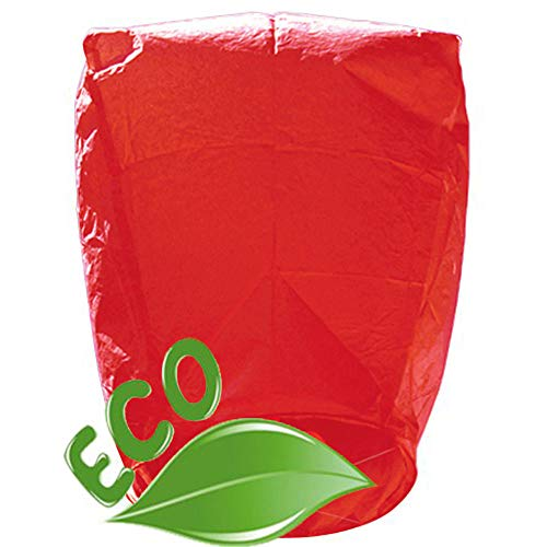 (Just Artifacts 25 ECO Wire-Free Flying Chinese Sky Lanterns (Set of 25, Wire-Free Eclipse, Red) - 100% Biodegradable, Environmentally Friendly Lanterns!)