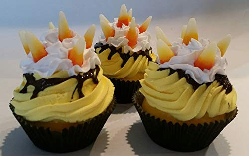 Dezicakes Fall Candy Corn Cupcakes Faux Cupcake- Fake unedible Staging Decor Set of 3