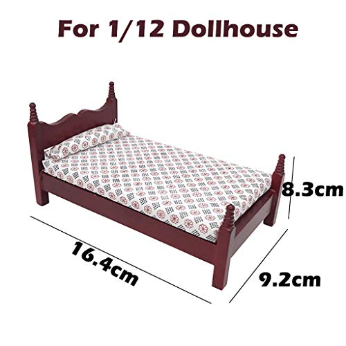 Gbell Girls Pretend Wooden Bed Toy Set for 1:12 Scale Dollho
