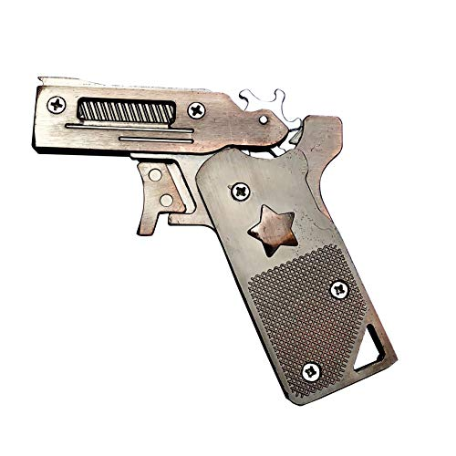 Automatic Rubber Band - Sunny Hill Classic Folding 6 Bursts Rubber Band Gun Semi-automatic Portable Zinc Alloy Toy (bronze)