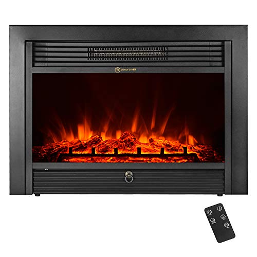"IKAYAA Electric Fireplace Insert, 28.7"" x 21"", Embedded Elec"