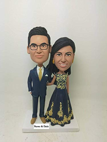 (Indian Bride Groom Indian Personalized Wedding Cake Topper Indian Custom Bobble Head Indian Figurine Indian Bride Indian Wedding Cake Topper)
