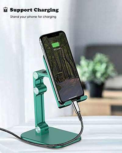 OTISA Foldable Cell Phone Stand for Desk, Height Adjustable Cell Phone Holder with Anti-Slip Base, Case Friendly Compatible with Most Mobile Phone/iPad/Kindle/Tablet(Green)