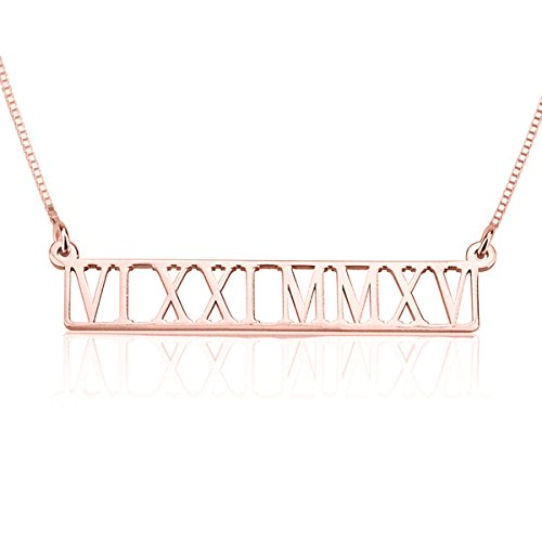 HACOOL 18K Gold Plated Bar Necklace Rectangular Custom Made with Any Roman Numeral Date Nameplate (Rose Gold)