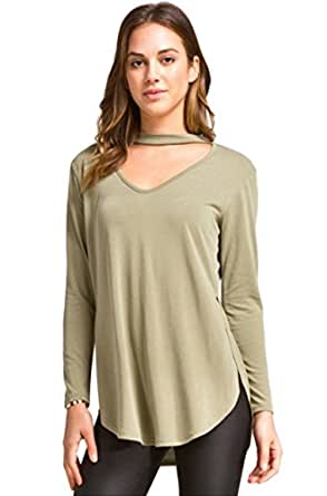 Cherish Women's Long Sleeve Hi-Low Modal Knit Top with Cutout Neckline Detail (Small, Light Olive)