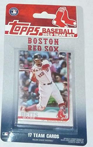 2019 Topps Factory Sealed Boston Red Sox Team Set of 17 Cards: Mookie Betts(#RS-1), Chris Sale(#RS-2), David Price(#RS-3), Andrew Benintendi(#RS-4), J.D. Martinez(#RS-5), Dustin Pedroia(#RS-6), Xander Bogaerts(#RS-7), Rafael Devers(#RS-8), Rick Porcello(#RS-9), Steve Pearce(#RS-10), Brock Holt(#RS-11), Sandy Leon(#RS-12), Mitch Moreland(#RS-13), Matt  Barnes(#RS-14), Jackie Bradley Jr. (#RS-15), Christian  Vazquez(#RS-16), Eduardo Rodriguez(#RS-17)