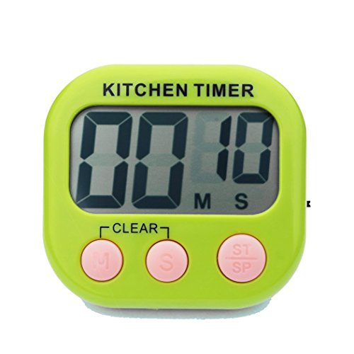 Digital Kitchen Timer, Feewer Large LCD Display, Loud Alarm, Magnetic Back Foldable Stand Count Up and Down Timer,Battery Included - Green