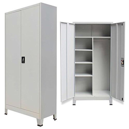 Festnight Office Steel Locker Cabinet with 2 Doors Gray 35.4'' x 15.7'' x 70.9'' by Festnight