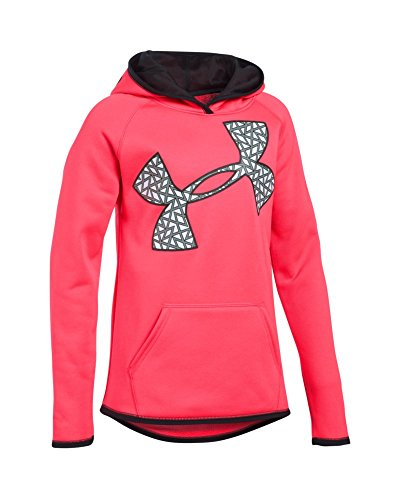 Under Armour Girls' Armour Fleece Jumbo Logo Hoodie, Pink Chroma/Pink Chroma, Youth Medium
