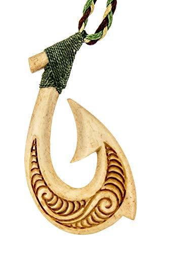 Fish Hook Meaning Maori (Earthbound Pacific Aged Bone Stylized Hawaiian Fish Hook Necklace with Scrimshaw)