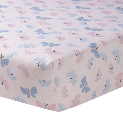 LO Beautiful Girls White Pink Blue Butterfly Meadows Fitted Crib Sheet, Animal Themed Nursery Bedding, Infant Child Insect Wings Forest Woods Nature Cute Adorable, Cotton Polyester by LO (Image #1)