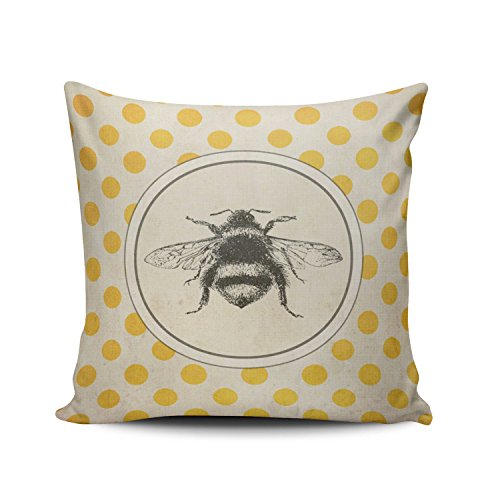 Dot European - SALLEING Custom Fashion Home Decor Pillowcase Vintage Bee on Yellow Dots European Square Throw Pillow Cover Cushion Case 26x26 Inches One Sided Print