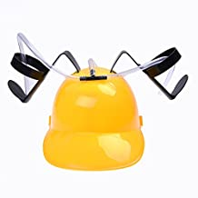 SODIAL(R) Beer Cola Drink Drinking Helmet Hat Can Holder Party Toys Yellow