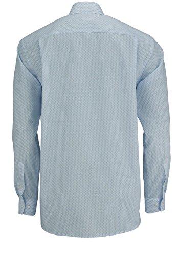 OLYMP Comfort Fit Hemd Langarm mit Besatz Muster hellblau
