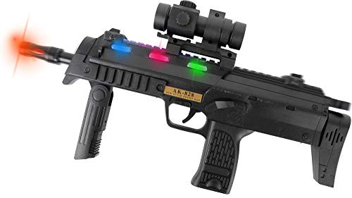 Gun Black Machine - Zoom Novelties AK-828 Personal Defense Toy Weapon SMG with Lights Sound and Exciting Motion