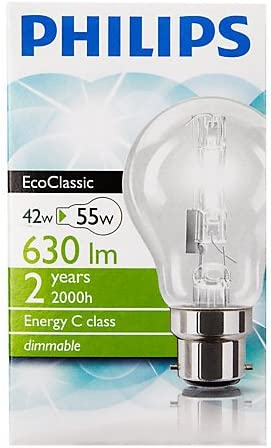 Philips Lot de 6 ampoules halog/ènes /écologiques GLS GLS BC B22 B22d A55 220-240/V
