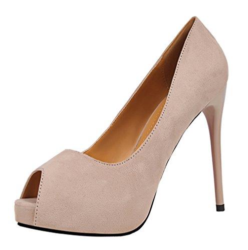 T&Mates Womens Comfort Sexy Peep-Toe Suede Slip-on Low Cut Platform Stiletto High Heel Pumps Shoes (5.5 B(M) US,Khaki)