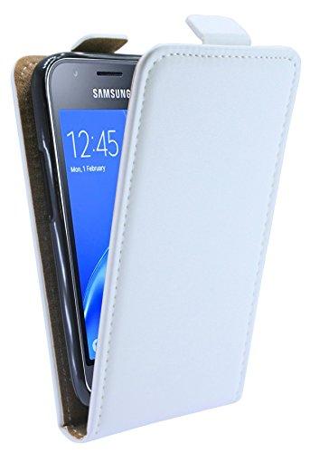 Funda con tapa para Samsung Galaxy J1 MINI 2016 (j105h) en Blanco Bolso Plegable Funda Cubierta Estuche Flip @ energmix