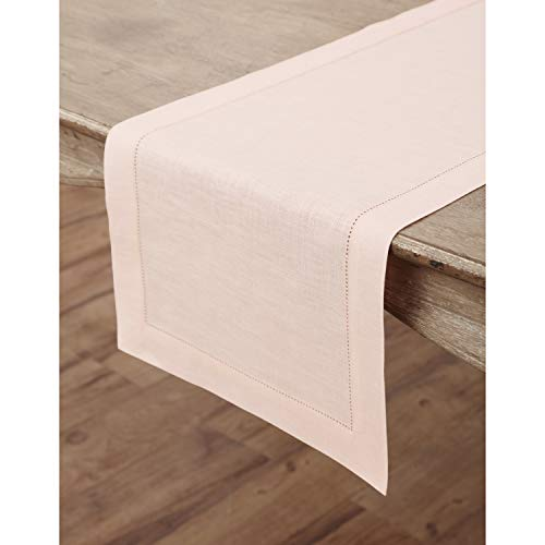 Solino Home Hemstitch Linen Table Runner - 14 x 48 Inch, Handcrafted from European Flax, Machine Washable Classic Hemstitch - -