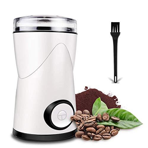 Kaffeemühle Elektrische, morpilot 150W Kaffeemühle mit 70g Fassungsvermögen,Edelstahlmesser, Pinsel, Mühle für Kaffeebohnen Nüsse Gewürze Getreide Kräuter, Mühle elektrisch - Weiß