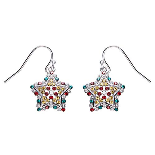 ings for Women - Rhinestone Dangle Earrings with Swarovski Crystals Ladies Earring Star Shaped Multicolor Great Gifts ()