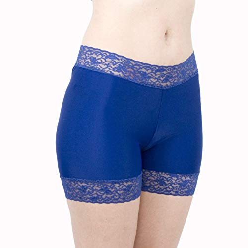 Basic Slip Shorts Navy Blue Spandex Bikers with Lace