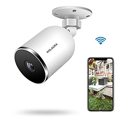 Kolaura Outdoor Security Camera, 1080P Home Surveillance Bullet Camera, IP66 Waterproof, Support 2 Way Audio, Night Vision, Motion Detection, Cloud Storage Service