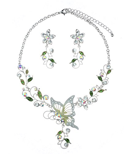 Floral Vine Design Butterfly Pendant Casting Necklace & Earrings Jewelry Set, (Butterfly Floral Ring)
