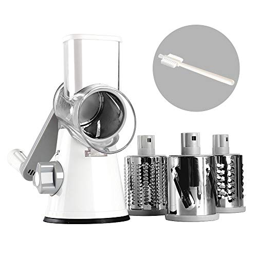Valuetools Manual Rotary Cheese Graters - FDA Certification - Round Mandoline Slicer Cheese Shredder Vegetable Slicer Walnuts Grinder with Strong-Hold Suction Cup Base and Cleaning Brush