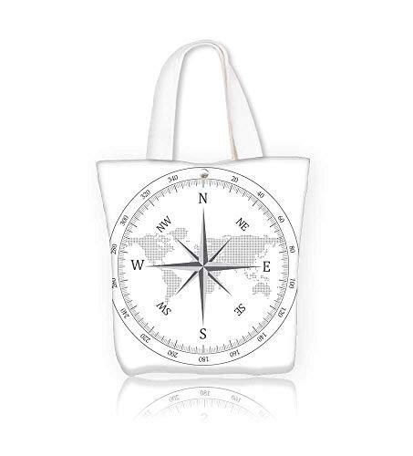 Reusable Cotton Canvas Zipper bag Black compass Tote Laptop Beach Handbags W16.5xH14xD7 INCH