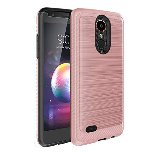 LG K10 2018/LG K30/LG Premier Pro LTE/LG Harmony 2 / LG Phoenix Plus Case [Tempered Glass Screen Protector] Hybrid Shockproof Drop Protection Rugged Cover for LG CV3 Prime/Xpression Plus-Rose - Lg Xpression Cover