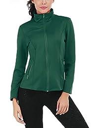 Women s Running Sport Jacket Lightweight Full Zip Workout Track Jacket with  Zipper Pockets 27b3ec97ab0