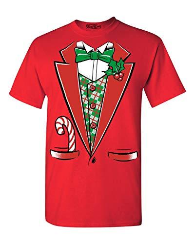 Tuxedo Christmas Costume T-shirt #12258 Funny Xmas Shirts 2XL Red