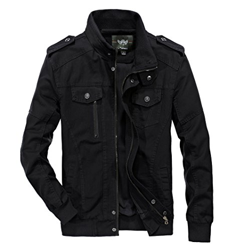 Waxed Military Jacket - RongYue Men's Cotton Stand Collar Lightweight Military Windbreaker Jacket(RY2701-Black-XL)