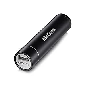 MaGeek 3350mAh Lipstick-Sized Portable Charger External Battery Power Bank with UniCharge Technology for iPhone, Samsung, and More (Black)