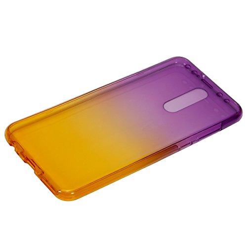 Carcasa para Huawei Mate 10 Lite, Funda Huawei Mate 10 Lite 360 Grados, EUWLY Full Body Delantera y Trasera Doble Protección Completa Cover Caso Ultra Delgado Degradado de Color Diseño Flexible Suave  Púrpura+Amarillo