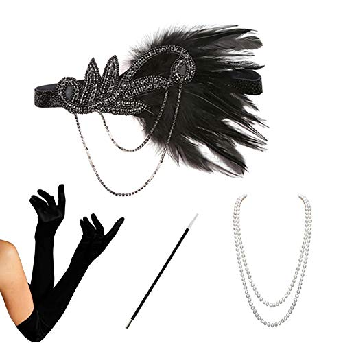 HAMIST 1920s Accessories Set Flapper Costume for Women Headband Gloves Cigarette Holder Necklace (S4-5832)]()