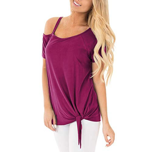 (Women Fashion Shirts Sexy Strapless Casual Solid Short Sleeve Knot Side Twist Soft Comfy Blouses Tops Tank Hot Pink)