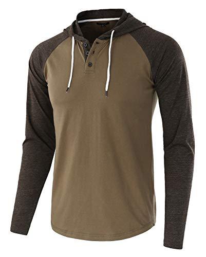 (HETHCODE Men's Casual Lightweight Long Sleeve Raglan Henley Jersey Hoodie Shirt Army/H.Charcoal S)