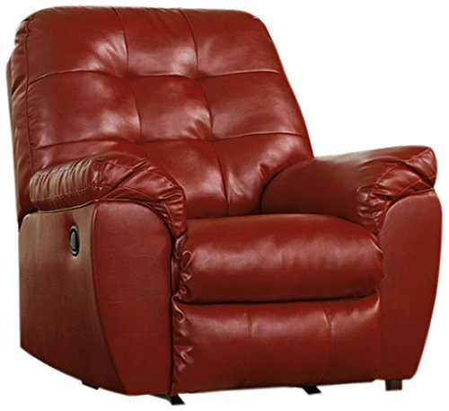 (Ashley Furniture Signature Design - Alliston Contemporary Rocker Recliner - Pull-Tab Reclining - Salsa)