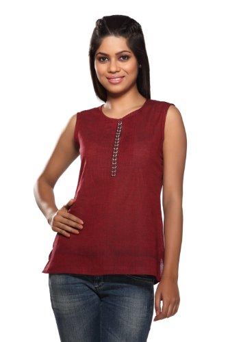 Women's Indian Topwear Maroon X-Small by In-Sattva
