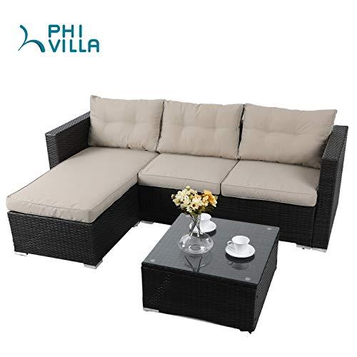 PHI VILLA Patio Sectional Wicker Rattan Outdoor Furniture Sofa Set with Upgrade Rattan(3-Piece, Beige)