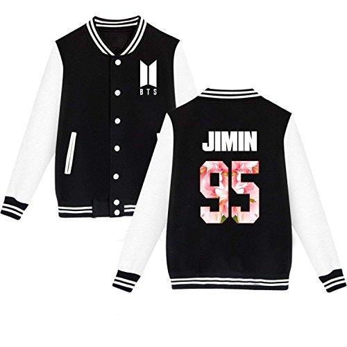 mainlead BTS Love Yourself New Logo Baseball Jacket Bangtan Boys Uniform(Jimin, Black, X-Large)