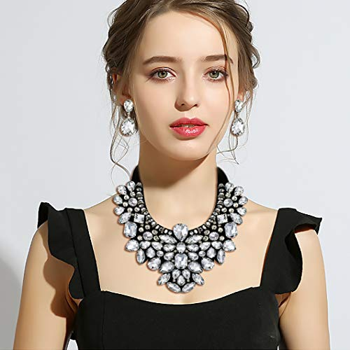 Flyonce 8 Colors Women's Stunning Crystal Costume Statement Necklace Earrings Set for Banquet, Prom - http://coolthings.us
