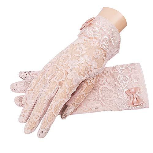 MoonEver Women's Short Elegant Lace Gloves Touch Screen No-Slip Summer Gloves]()
