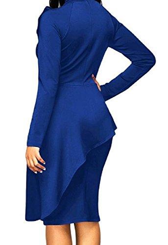 Confortables Femmes Arc À Manches Longues Moderne Soirée Solide Sexy Robe Bleu Violacé
