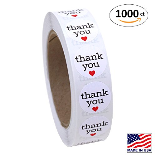 Red Heart Card (1 Inch Round Thank You Sticker Labels with Red Hearts, 1000 Stickers per Roll)